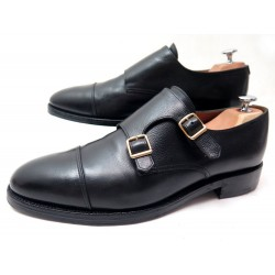 CHAUSSURES JOHN LOBB WILLIAM 9008 BI BOUCLE 10E 44 CUIR GRAINE NOIR SHOES 1115€