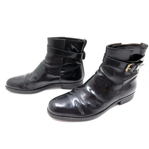 CHAUSSURES LANVIN BOTTINES JODHPUR 43 CUIR NOIR BLACK LEATHER BOOTS SHOES 600€