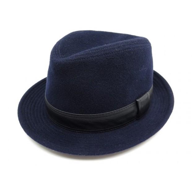 NEUF CHAPEAU HERMES FUNKY EN CACHEMIRE BLEU & CUIR TAILLE 55 HOMME HAT BLUE 355€