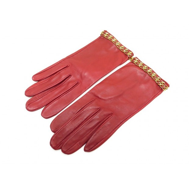 GANTS CHANEL CHAINE ENTRELACEE DOREE EN CUIR ROUGE T 6.5 RED LEATHER GLOVES 720€