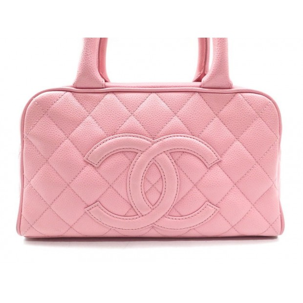 SAC A MAIN CHANEL 27 CM EN CUIR CAVIAR MATELASSE ROSE PINK HAND BAG PURSE 2700€