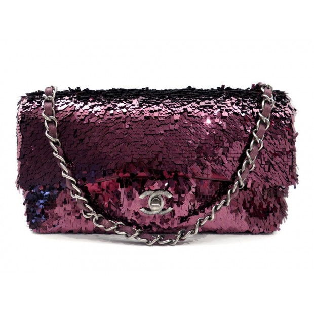 NEUF SAC A MAIN CHANEL TIMELESS 2.55 SEQUIN BANDOULIERE BORDEAUX HAND BAG 4200€