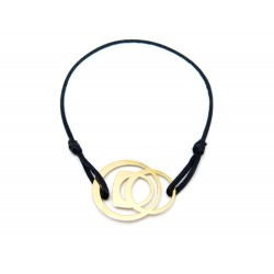 BRACELET FRED SUCCESS MOBILE EN OR JAUNE 18K 3.8 GR & CORDON NOIR