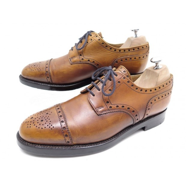 CHAUSSURES BOWEN DERBY 8 42 EN CUIR PATINE GOLD TRIPLE SEMELLE SHOES 335€