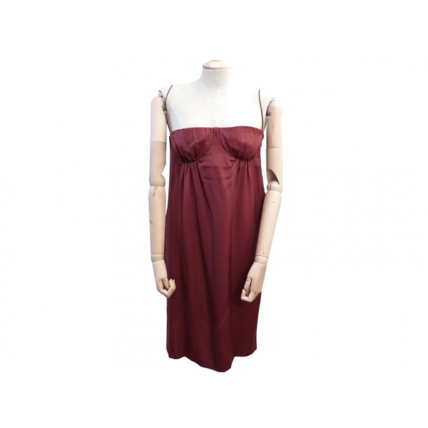 ROBE BUSTIER BOTTEGA VENETA 42 IT 38 FR M EN SOIE BORDEAUX SILK DRESS 1850€