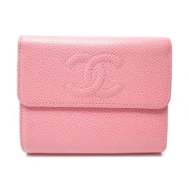 d458ca854ca portefeuille chanel logo cc cuir caviar rose pink