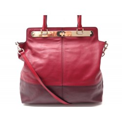 NEUF SAC A MAIN VALENTINO 37 CM BANDOULIERE CUIR ROUGE & BORDEAUX HAND BAG 1890€