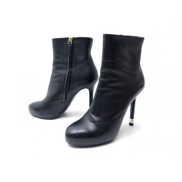 chaussures chanel g31301 38.5 bottines en cuir noir a64ce39dfeb