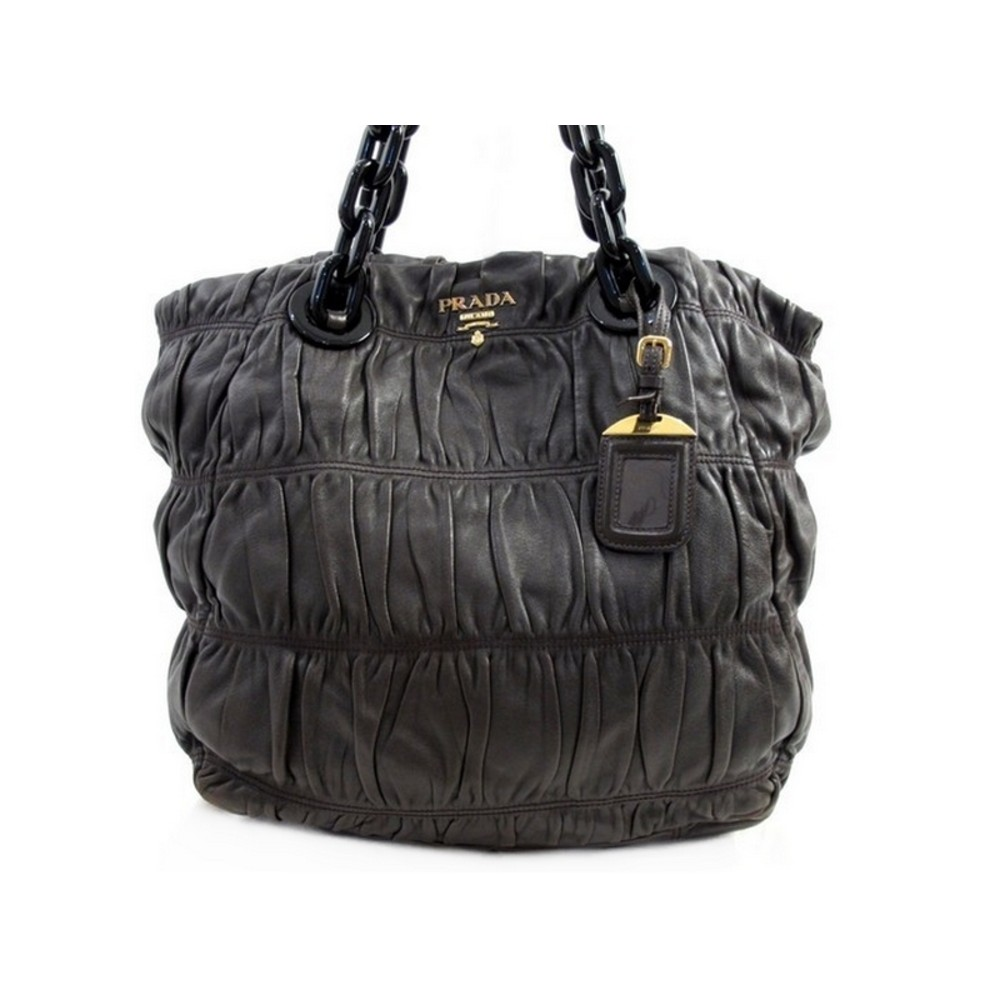 14f1ed45f307 SAC A MAIN PRADA BR4073 NAPPA GAUFRE EN CUIR MARRON BROWN HAND BAG PURSE  1900€