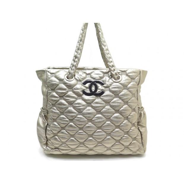 Sac A Main Chanel Shopping Matelasse En Cuir Dore