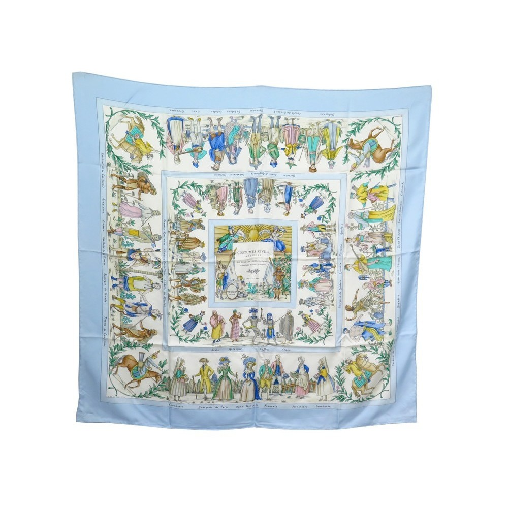 FOULARD HERMES COSTUMES CIVILS ACTUELS CARRE SOIE BLEUE F. PERRIERE SCARF  360€. Loading zoom 29abe2b898f