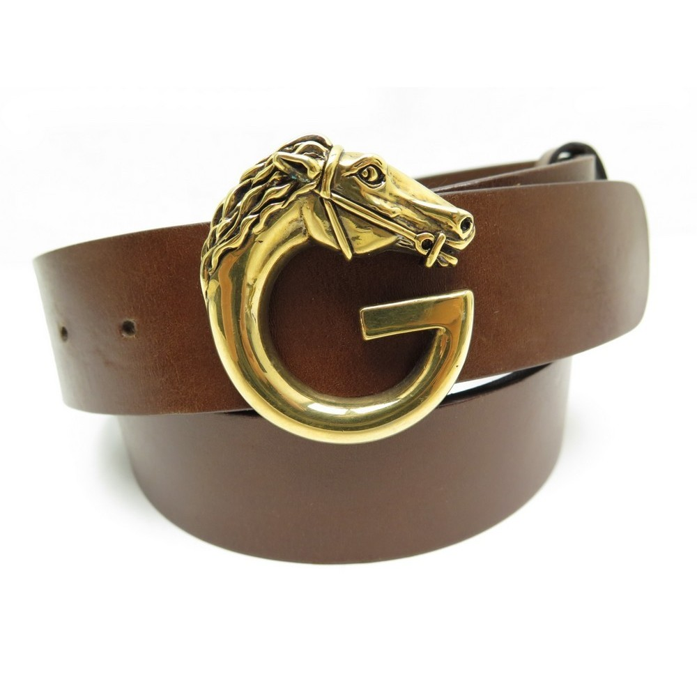 NEUF CEINTURE GUCCI TETE DE CHEVAL 201785 T 85 EN CUIR MARRON LEATHER BELT  350€. Loading zoom 0427f190255