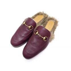 NEUF CHAUSSURES GUCCI MULES PRINCETOWN 5.5 39.5 MOCASSINS FOURREES CUIR 795€