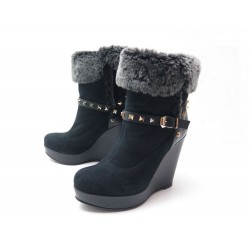 NEUF CHAUSSURES VALENTINO ROCKSTUD 39 BOTTINES FOURREES DAIM & CUIR BOOTS 890€