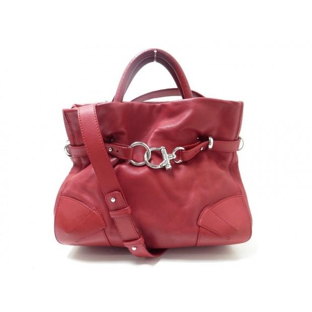 SAC A MAIN SONIA RYKIEL MARTHA BANDOULIERE 35 CM CUIR ROUGE HAND BAG PURSE 890€