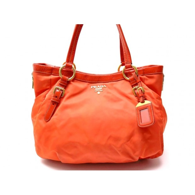 SAC A MAIN PRADA CABAS EN TOILE & CUIR VERNI ORANGE TOTE HAND BAG ZIPPERS 1200€
