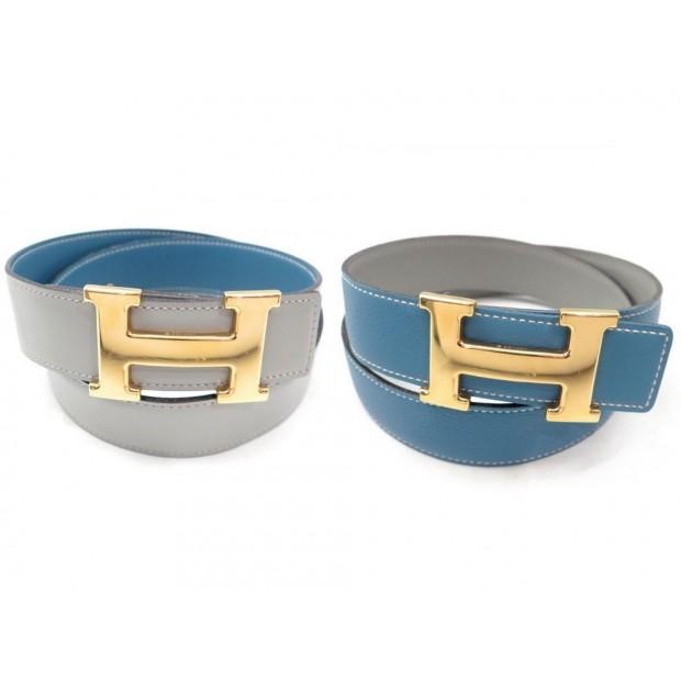 ceinture hermes boucle h dore t 72 cm en cuir bleu et 01c77860c51