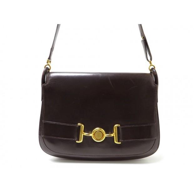VINTAGE SAC A MAIN HERMES POCHETTE 28 CM EN CUIR BOX MARRON HAND BAG PURSE