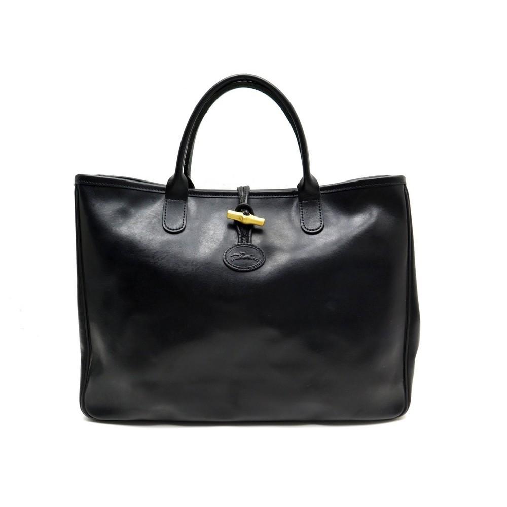 A Cuir Main Heritage Cabas L Noir Longchamp Roseau Sac E9DHI2