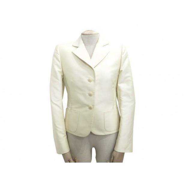 VINTAGE VESTE HERMES S 36 FEMME EN COTON ECRU OFF-WHITE COTTON JACKET 1800€