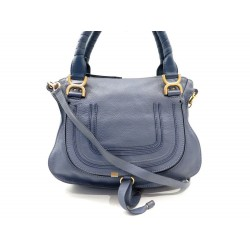 4458fa1e6e SAC A MAIN CHLOE MARCIE MEDIUM 36 CM BANDOULIERE CUIR BLEU HAND BAG PURSE  1490€