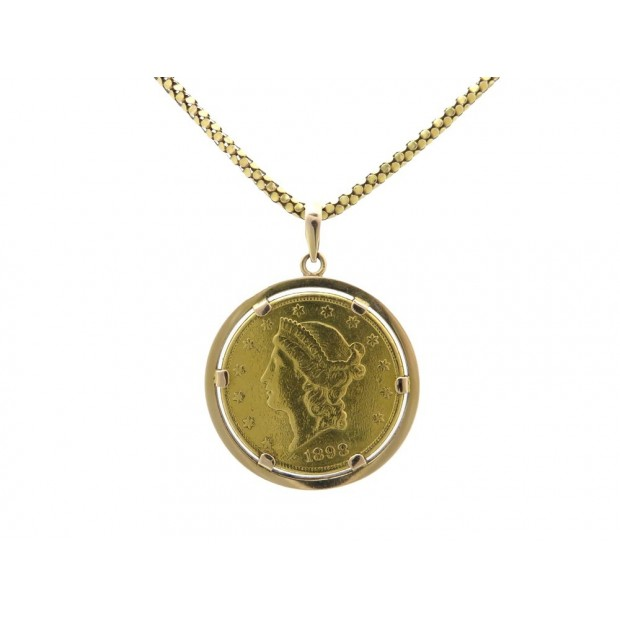 PENDENTIF PIECE EN OR 20 DOLLARS AMERICAIN 1898 54.6GR CHAINE COLLIER COIN GOLD