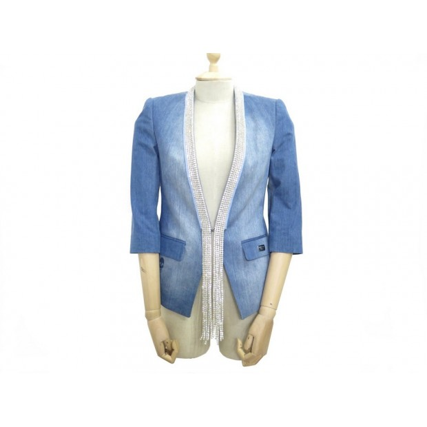 VESTE PHILIPP PLEIN S 36 FEMME BLAZER EN COTON JEAN DENIM BLEU BLUE JACKET 1000€
