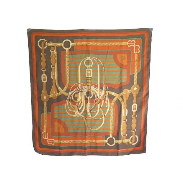 foulard hermes coaching carre en soie kaki j 74014e98aec