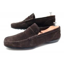 CHAUSSURES TOD'S GOMMINO 6.5 IT 41.5 FR MOCASSINS VEAU VELOURS MARRON SHOES 350€