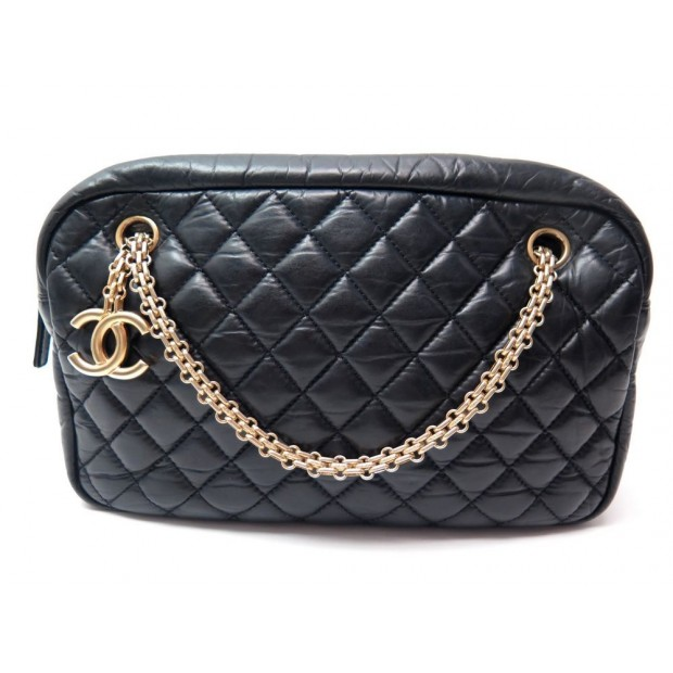 NEUF SAC A MAIN CHANEL CAMERA CUIR MATELASSE NOIR 255cd061172