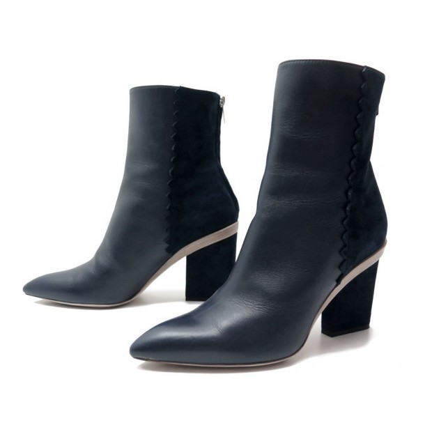 chaussures hermes bottines a talons cuir et daim