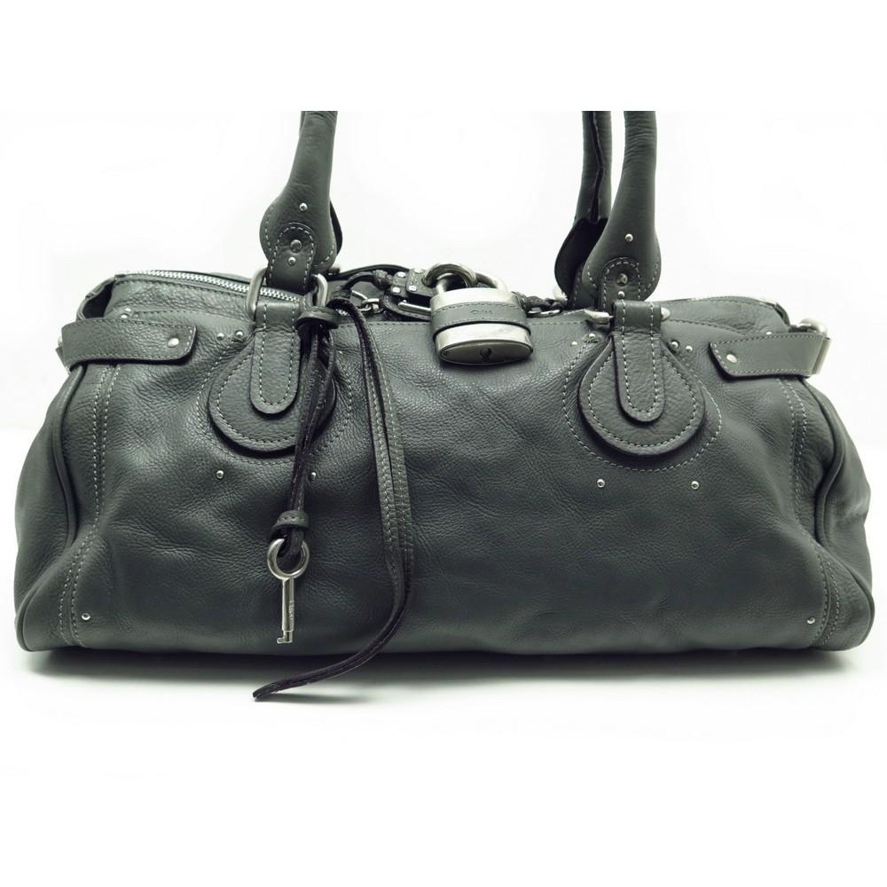 SAC A MAIN CHLOE PADDINGTON GM WEEK END EN CUIR GRIS HAND BAG PURSE 1900€.  Loading zoom 594be805e74