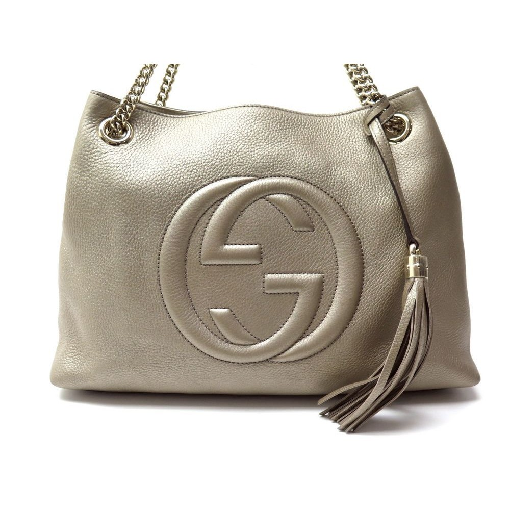 4cd3607e416 SAC A MAIN GUCCI SOHO 308982 CUIR BRONZE. Loading zoom