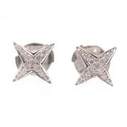 BOUCLES D'OREILLES MAUBOUSSIN STRING STAR PM OR BLANC 18K DIAMANT EARRINGS 1490€