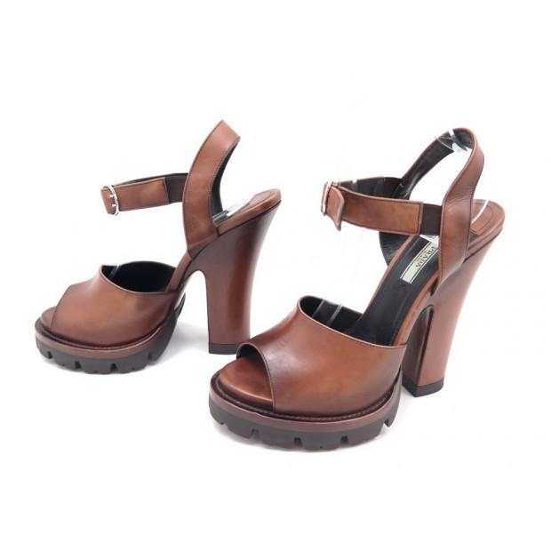 get cheap official site no sale tax chaussures prada sandales a talons 40 cuir marron