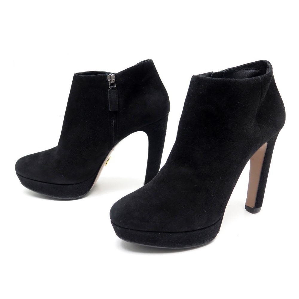 chaussures prada bottines a talons 39 en daim noir low
