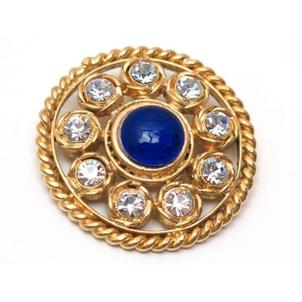 NEUF BROCHE CHANEL RONDE EN METAL DORE PIERRE BLEUE & STRASS BROOCH 590€