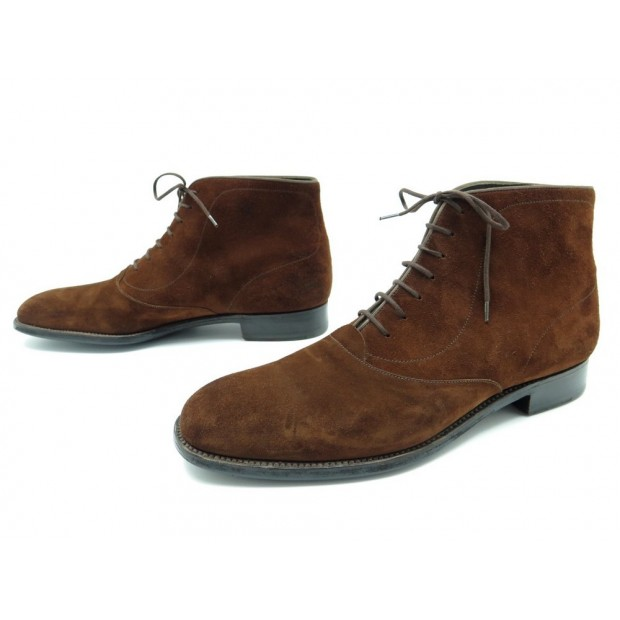 CHAUSSURES JM WESTON 305 10D 44 LARGE BOTTINES EN DAIM MARRON BOTTILLONS 730€