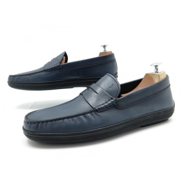 NEUF CHAUSSURES TOD'S 9.5 IT 44 FR MOCASSINS EN CUIR BLEU LOAFERS SHOES 335€