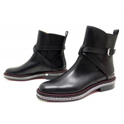 NEUF CHAUSSURES CHRISTIAN LOUBOUTIN 41 CHAINE MIDSOLE BOTTINES ANKLE BOOTS 1350€