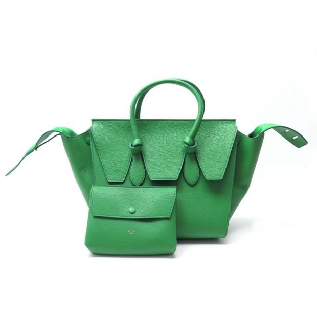 Sac A Main Celine Tie Bag Small En Cuir Vert 3d013825978f2