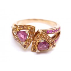 BAGUE MAUBOUSSIN SUBTILE DUALITE T 54 OR ROSE TOURMALINES SAPHIRS DIAMANTS 1790€