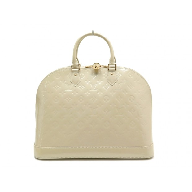 SAC A MAIN LOUIS VUITTON ALMA GM EN CUIR VERNI CREME HAND BAG PURSE 2900€