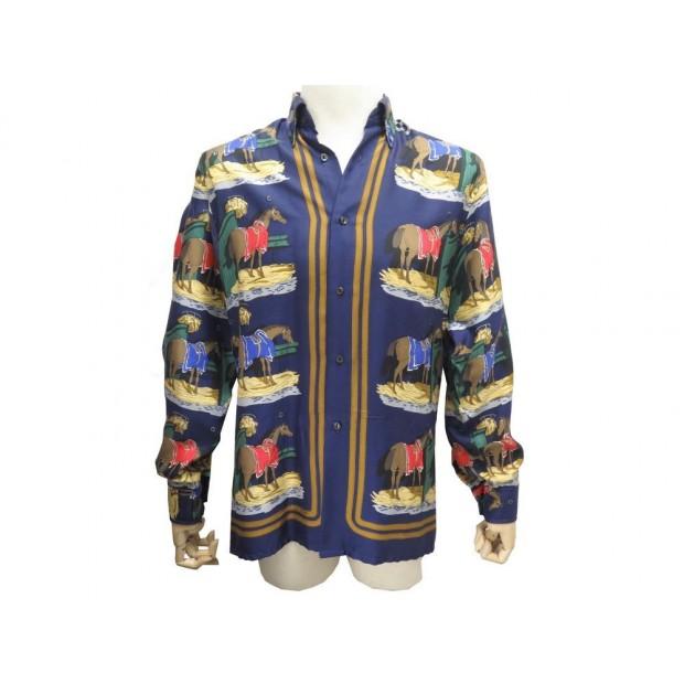 bas prix 2ca40 07c22 chemise hermes foulard ecuries homme t 39 m en soie