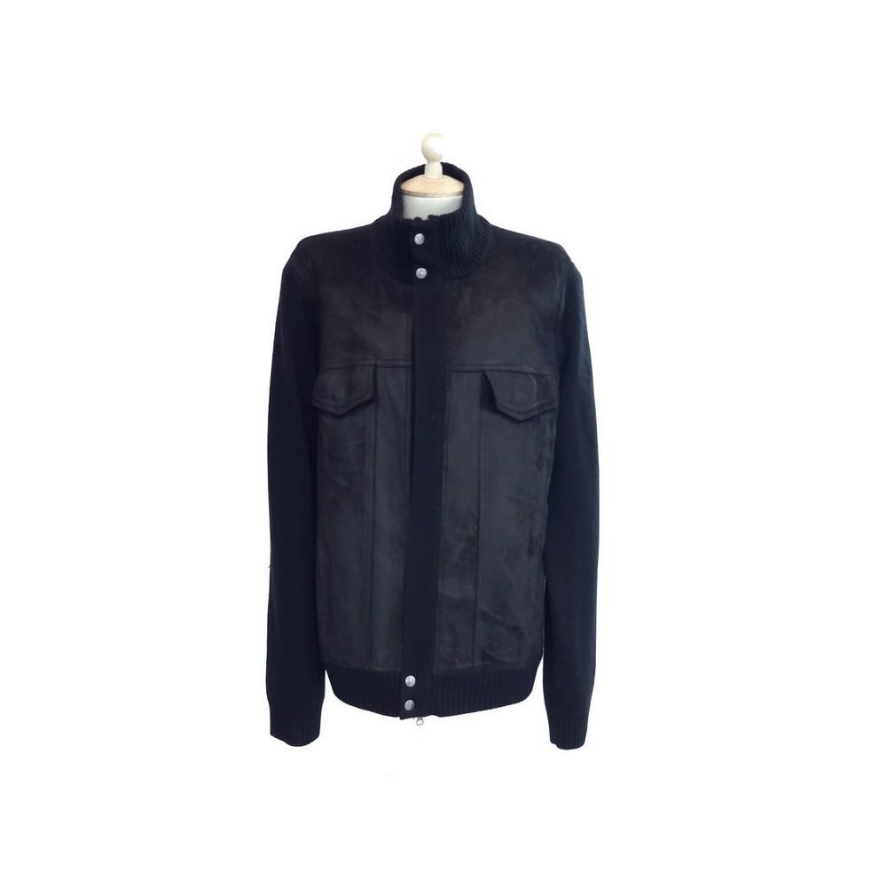 9b7e5a99303f5 blouson gant 52 l en cuir laine noir gilet veste