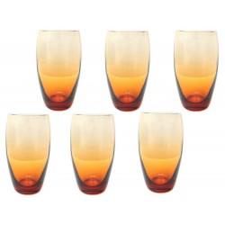 NEUF 6 VERRES SAINT LOUIS FANFARE POUR HERMES GOBELETS EN CRISTAL ORANGE GLASSES