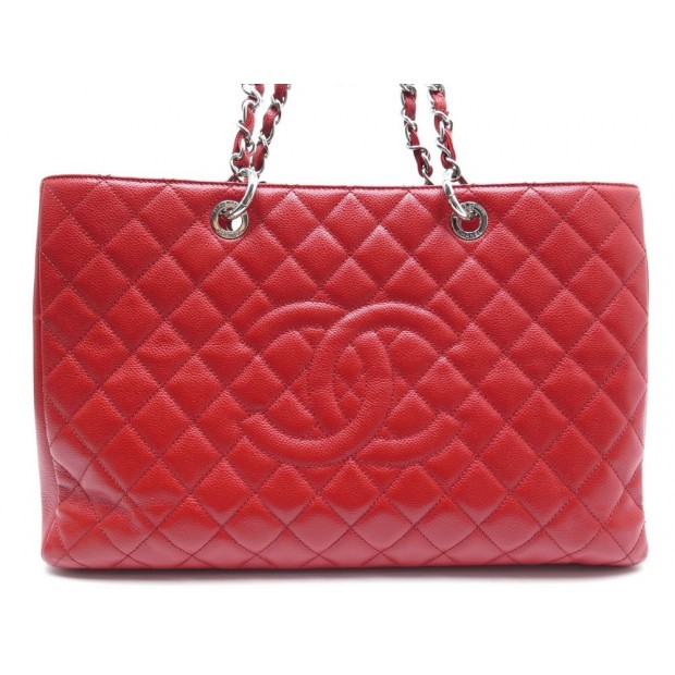 NEUF SAC A MAIN CHANEL CABAS SHOPPING GM LOGO CC CUIR CAVIAR ROUGE HANDBAG 3500€