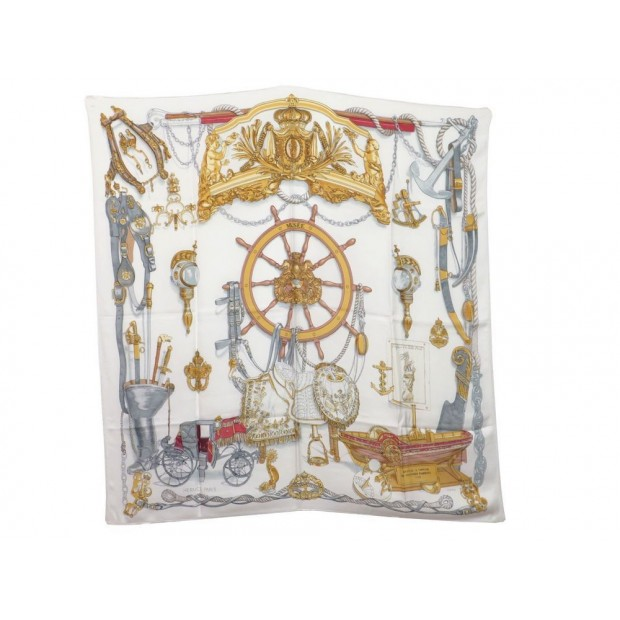 VINTAGE FOULARD HERMES MUSEE CARRE PHILIPPE LEDOUX SOIE BLANC SILK SCARF 345€