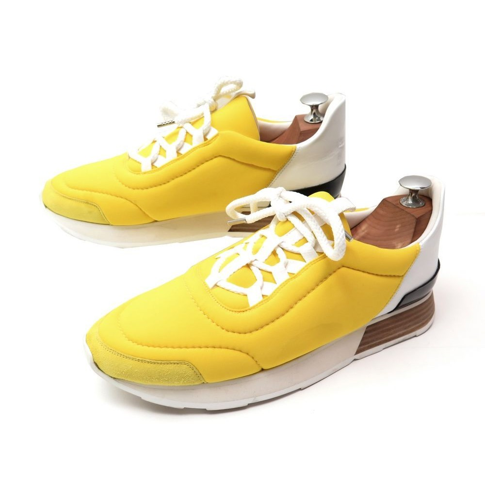 80afe434ba CHAUSSURE HERMES BASKETS 40 FEMME TOILE JAUNE SNEAKERS + SAC CANVAS SHOES  600€. Loading zoom