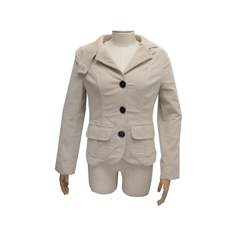 98fbe385e7cd veste cintree burberry t 38 m en velours beige 3